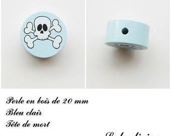 Wooden bead of 20 mm, flat, skull bead: light blue