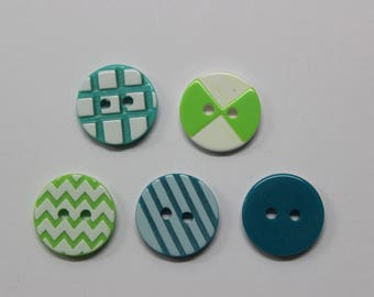 assortment of buttons pattern graphic embossed Green 15 mm
