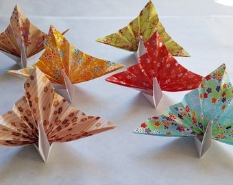 Set of 6 origami Peacock.