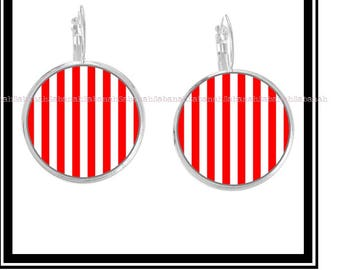 """Earrings,"" simply red & white """