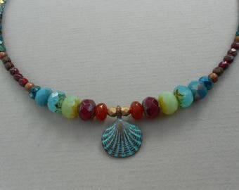 Nautical necklace,marine necklace,multicolour beaded necklace