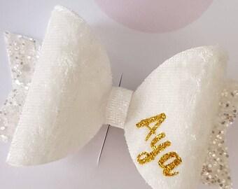 White Velvet Personalised Bow