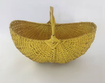 Large Woven Wicker Seagrass Gathering Basket With Handle