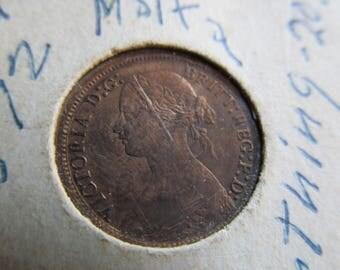 ENGLAND Queen Victoria 1872 Copper Farthing Coin