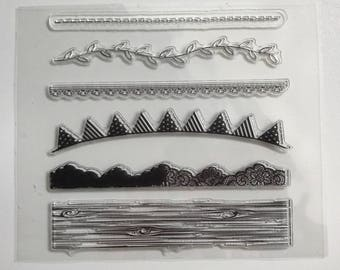 Stamps silicone - clear Stamp - themed borders - wood - g - party - flower - lace - sewing - birthday banner