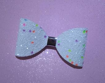 glitter hair bow, cupcake sprinkles hairbow, girls hairbow, hair bow clip, sparkly hair bow