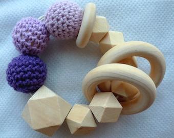 Rattle, inspiration-Montessori purple Hexagon