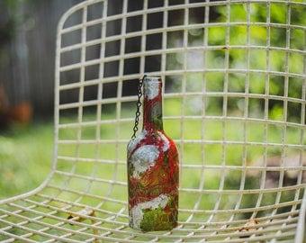 Single Green Wine Bottle Lantern - Hanging Candle - Hanging Lantern - Gifts for Mom - Housewarming Gift