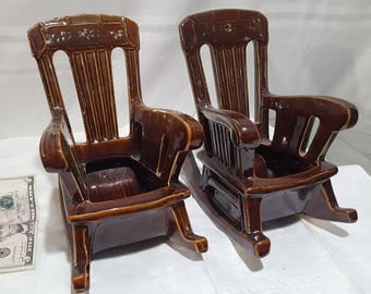 Vintage McCoy Rocking Chair Planters Brown,1954,8'T,5-5W