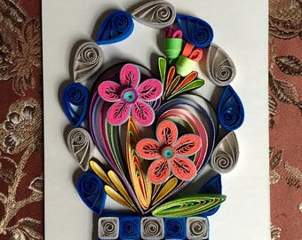 Flower Design:Handmade Quilling Art Gift-Handmade Special Gift-Wall Art Picture-House Warming Gift-Special Flower Design-Gift For Love
