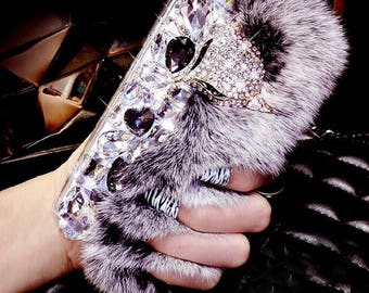 Cute Top quality Luxury bling Rhinestone/faux fur/PomPom iPhone cases for iPhone 7, 7+, 8 and  8+