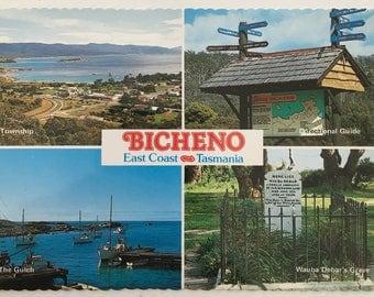 Bicheno Tasmania vintage postcard