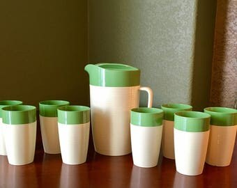 Raffiaware Thermo Temp Green and White/Tan Set Pitcher and 8 Tumblers *free coffee cup*