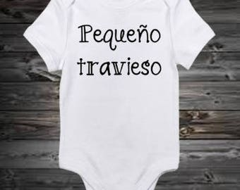 "Funny spanish onesie ""Pequeño travieso"""