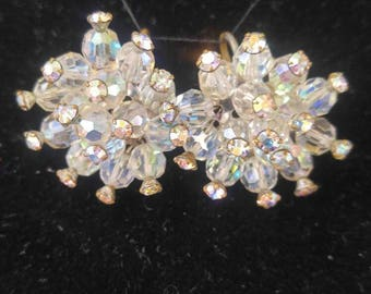Vintage crystal earrings,Christmas gift ,clip on