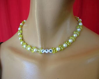 """zen"" Choker necklace beads lemon Butterfly + rhinestones"