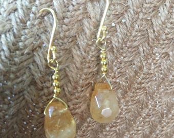 Natural Yellow Crystal Earrings