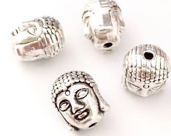 X 10 metal Buddha head beads