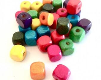 MIX 50 X 10mm wood beads