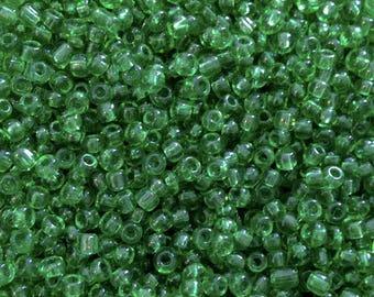 10 grams seed beads green transparent dark 2mm♥ ♥