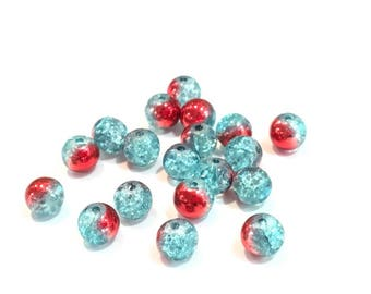 X 10 glass Crackle bicolor bleu❤ Red 6mm beads ❤