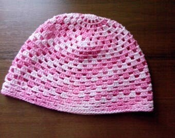 Baby hat Crocheted baby hat Cotton crocheted hat Pink hat