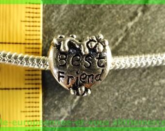 N12 heart best friend bracelet charms for European bead