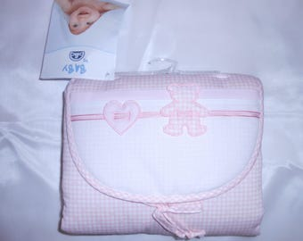 changing pad embroidery gingham pink dmc