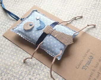 Share blanket tie - set of 10 original birth/christening boy blue blanket fabric and linen tie - like of A