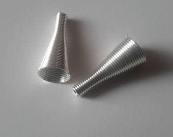 Silver spiral cone set of 2