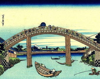 ORIGINAL SEMI RIGID PLACEMAT. Hokusai. The Fukagawa Mannen bridge.