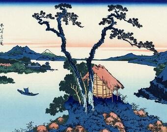 ORIGINAL TABLE SET, plastic, WASHABLE and durable - Hokusai. Lake Suwa in Shinano province - classic.