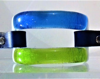 Green Blue and White Glass Bracelet