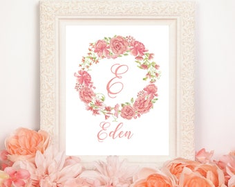 Monogram Printable~Floral Wreath Print~8X10 Printable-Digital Print~Personalized~Nursery Home Decor
