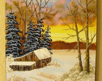 Oil painting-According to Bob Ross-Wintelandschaftsgemälde landscape painting canvas Snow
