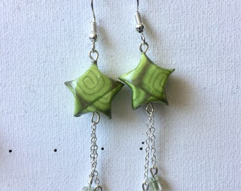 Origami star and brass earrings