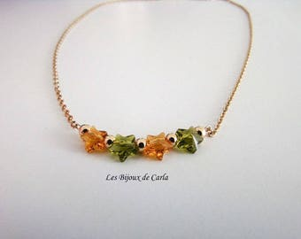 Gold plated necklace with gold plated beads and Crystal stars