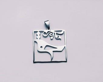 silver bird pendant Morghe hagh Persian motif- handcrafted stainless steel Niakan