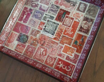 Vide poche, cardboard, decorated with a mosaic of postage stamps