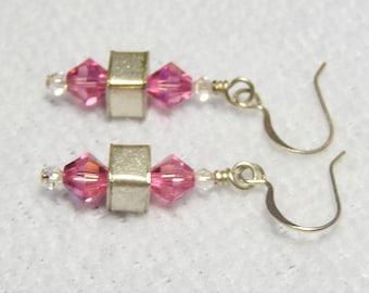 Sterling and Pink Swarovski Earrings