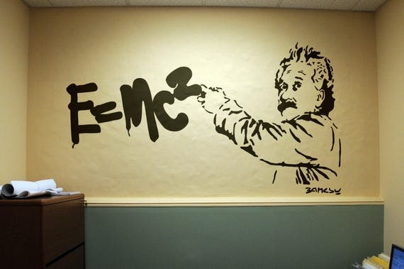 Banksy version of Einstein Theory of Relativity, Wall Decal Sticker, Banksy Style, Urban art, graffiti stencil wallart spray, Art, E=MC2