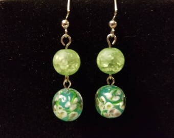 Garden green glass earrings