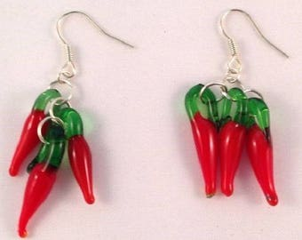 Earrings with glass red peppers