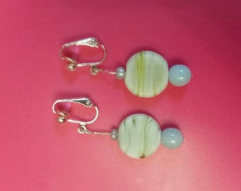 Green and white clip-on glass earings