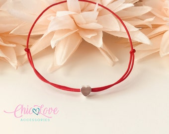Heart Red String Bracelet, Protection Bracelet, Friendship Bracelet, Red String of Fate, Kabbalah bracelet, Protection. Hilo Rojo Protector.