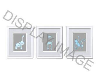 Nursery Wall Art Set, Printable Blue and Gray Zoo Animals