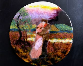 Homemade Fused Glass Painting of a Couple in a Field Circa 1940