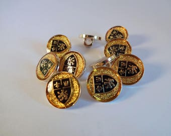 10 buttons - black and Gold coat - tails, sewing - scrapbooking (A)