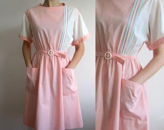 vintage Pink & white Secretary preppy  ladies dress 70s 80s