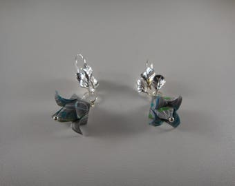 Green and white origami flower earrings
